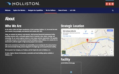 Screenshot of About Page holliston.com - Holliston Mills | About - captured Jan. 30, 2016