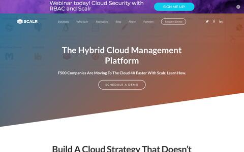 Screenshot of Home Page scalr.com - Scalr - The Hybrid Cloud Management Platform - captured Jan. 30, 2018