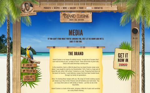 Screenshot of Press Page islandcuisine.co.uk - The Brand | Island Cuisine - Taste The Culture - with Ronnie Albert - captured Oct. 6, 2014