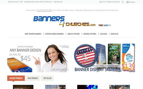 Screenshot of Home Page banners4churches.com - Banners4Churches | America's #1 SUPERSTORE for Church Banners and Displays - captured Oct. 5, 2018