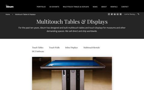 Screenshot of Products Page ideum.com - Ideum Multitouch Tables, Touch Screens, and Exhibit Displays - captured Aug. 5, 2018