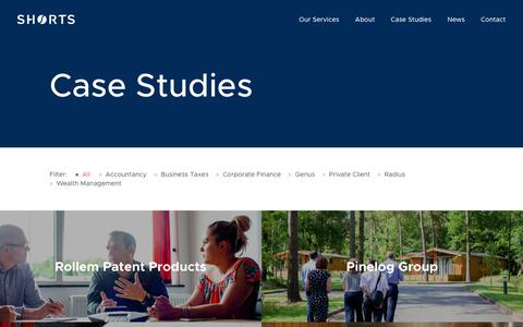 Screenshot of Case Studies Page shorts.uk.com - Case Studies Archive | Shorts Chartered Accountants - captured Oct. 20, 2018