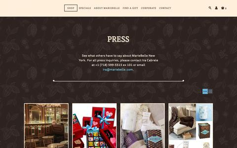 Screenshot of Press Page mariebelle.com - Press | MarieBelle® New York Chocolates - captured Feb. 4, 2016
