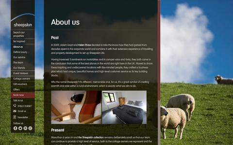 Screenshot of About Page sheepskinlife.com - Cosy holiday cottages for romantic breaks in the UK - captured Feb. 17, 2016