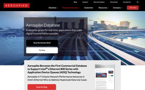 Screenshot of Products Page aerospike.com - (1) New Message! - captured Oct. 2, 2019
