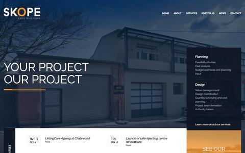 Screenshot of Home Page skopeconstructions.com.au - SKOPE CONSTRUCTIONS - captured Aug. 12, 2015