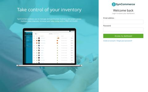 Screenshot of Signup Page Login Page syncommerceapp.com - SynCommerce - Simple & Smart inventory control - captured Dec. 1, 2016