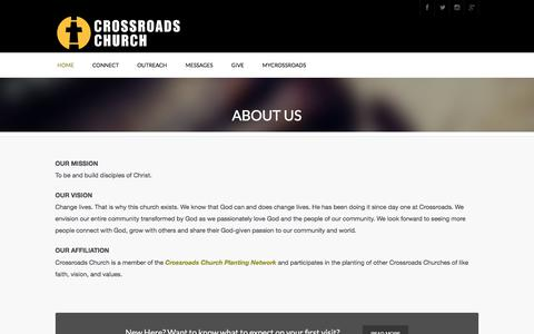 Screenshot of About Page crossroadsjc.com - About Us | Crossroads Church - captured Aug. 31, 2017