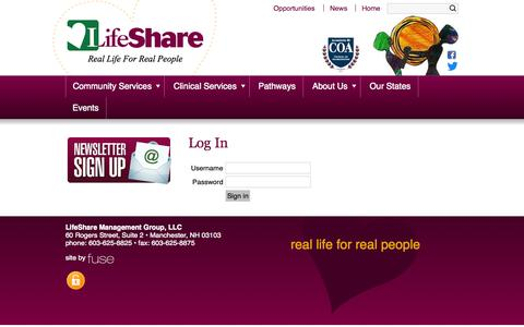 Screenshot of Login Page lifeshareusa.com - LifeShareUSA.com - captured Oct. 2, 2014