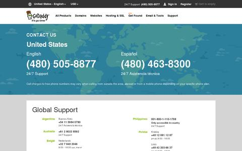 Screenshot of Contact Page godaddy.com - GoDaddy Global Support | Contact Us – GoDaddy - captured July 18, 2014