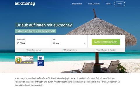 Urlaub auf Raten ✈ Urlaubskredit von AUXMONEY.com