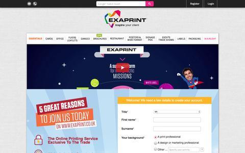 Screenshot of Signup Page exaprint.co.uk - Exaprint - captured Nov. 14, 2016
