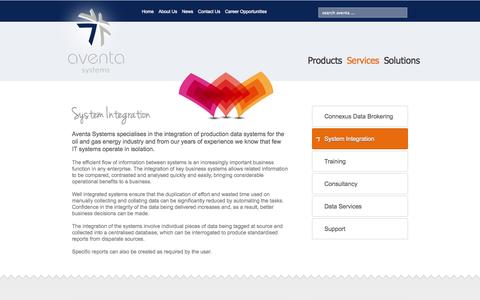 Screenshot of Services Page aventa-systems.com - System Integration - Aventa Systems - captured Sept. 30, 2014