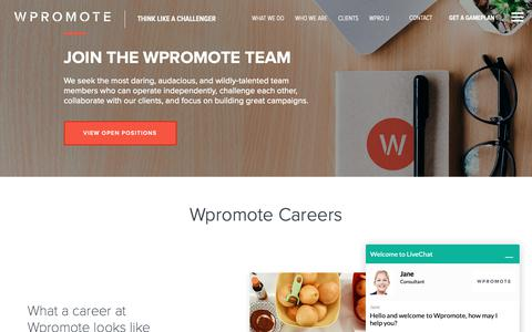Screenshot of Jobs Page wpromote.com - Online Marketing Careers   #2 Best Agency To Work For In The U.S.   Wpromote - captured Nov. 18, 2018