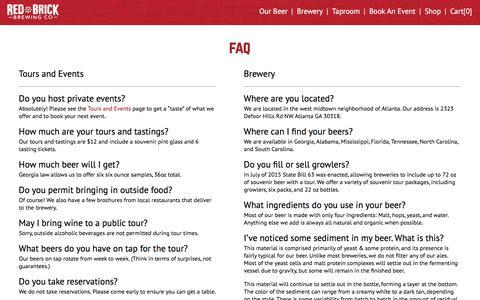 Screenshot of FAQ Page redbrickbrewing.com - Red Brick Brewing - captured Oct. 9, 2017
