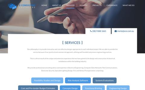 Screenshot of Services Page ece.com.au - E Consulting Engineers - Services - captured Oct. 13, 2017