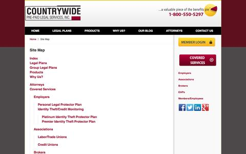 Screenshot of Site Map Page countrywideppls.com - Legal Service Plans Attorney :: Site Map :: Pre-Paid Legal Service Plans Lawyer - captured Oct. 3, 2014