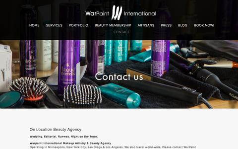 Screenshot of Contact Page warpaintinternational.com - CONTACT — Warpaint International Beauty Agency - captured Sept. 26, 2015