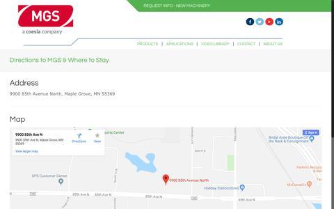 Screenshot of Maps & Directions Page mgsmachine.com - Directions to MGS & Where to Stay - MGS Machine - captured July 26, 2018