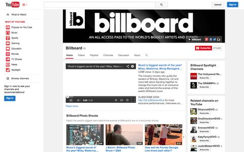 Screenshot of YouTube Page youtube.com - Billboard  - YouTube - captured Oct. 23, 2014