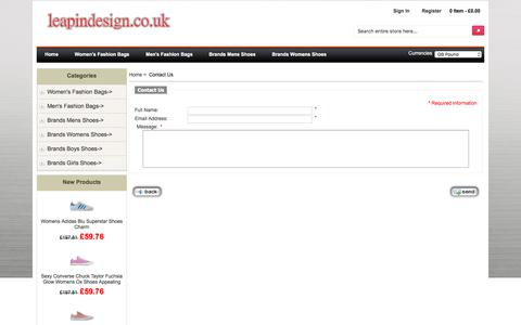 Screenshot of Contact Page leapindesign.co.uk - Contact Us : Adidas,Air Jordan,Nike,Jordan,Skechers,Biggest Discount - captured July 17, 2018