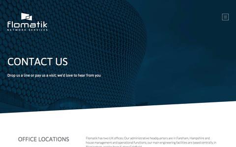 Screenshot of Contact Page flomatik.co.uk - Contact Flomatik - captured Feb. 10, 2016
