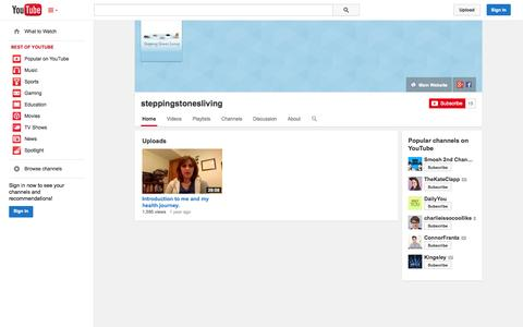 Screenshot of YouTube Page youtube.com - steppingstonesliving  - YouTube - captured Oct. 26, 2014