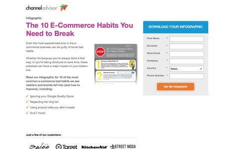 Screenshot of Landing Page channeladvisor.com - The 10 E-Commerce Habits You Need to Break - captured April 27, 2016