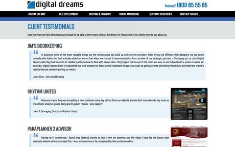 Screenshot of Testimonials Page digitaldreams.com.au - Digital Dreams - Client Testimonials - captured Jan. 7, 2016