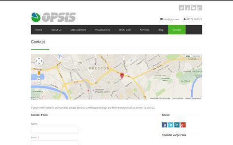Screenshot of Contact Page opsis.co - Opsis: Contact - captured Oct. 9, 2014
