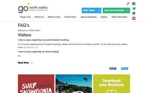 Screenshot of FAQ Page gonorthwales.co.uk - FAQ's - Go North Wales - captured Nov. 30, 2016