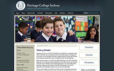 Screenshot of Home Page Contact Page hcs.nsw.edu.au - Christadelphian Heritage College Sydney - captured Oct. 2, 2014