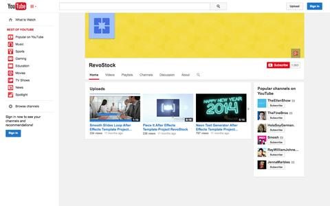 Screenshot of YouTube Page youtube.com - RevoStock  - YouTube - captured Oct. 25, 2014
