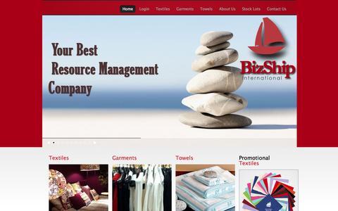 Screenshot of Home Page bizship.com - Textile Buying House | Garments Buying House | Textile Buying Agency | Garments Buying Agency | - captured Oct. 5, 2014