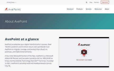 Screenshot of About Page avepoint.com - About | AvePoint - captured July 9, 2018
