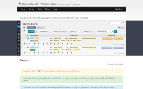 Screenshot of Support Page wpbookingcalendar.com - Support | Booking Calendar - WordPress plugin - captured Sept. 23, 2018