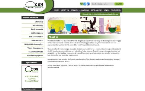 Screenshot of About Page oconchemicals.ie - Supply Service to the Laboratory Sector - Cork, Ireland - captured Oct. 7, 2014