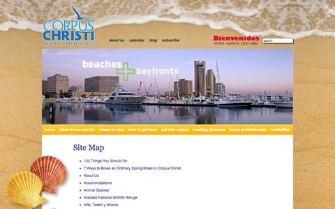 Screenshot of Site Map Page visitcorpuschristitx.org - Corpus Christi Hotels, Attractions, Group Tours, Beaches & Texas Vacations in Corpus Christi - captured Sept. 24, 2014