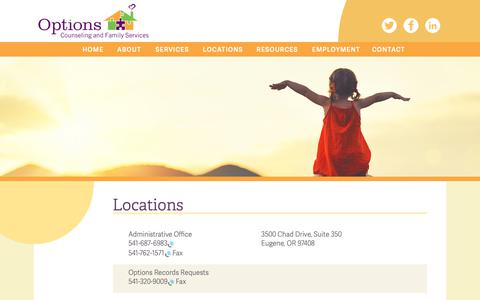 Screenshot of Locations Page options.org - Locations – Options Counseling & Family Services - captured Oct. 18, 2018
