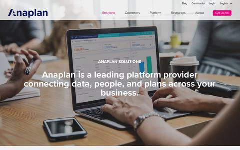 Solutions Home | Anaplan