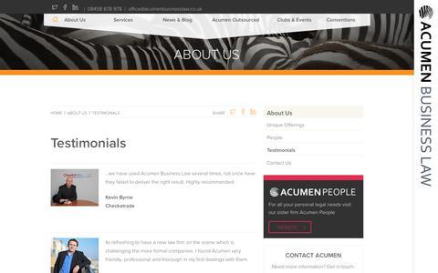 Screenshot of Testimonials Page acumenbusinesslaw.co.uk - ACUMEN BUSINESS LAW - Testimonials - captured July 13, 2018