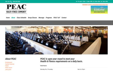 Screenshot of Hours Page peachealthfitness.com - PEAC Hours – PEAC Health & Fitness - captured July 14, 2018