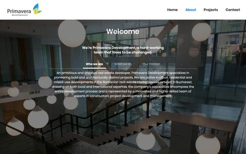 Screenshot of About Page primavera-development.ro - About Primavera Development: Who we are - captured Feb. 1, 2019