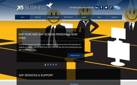 Screenshot of Home Page k5erp.com - Home   K5 Business - captured Oct. 6, 2014