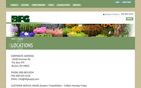 Screenshot of Contact Page Locations Page bfgsupply.com - Find UsNursery Supply Location Near You | BFG Supply - captured Oct. 22, 2014