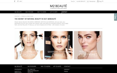 Screenshot of Terms Page m2beaute.com - M2 Beauté | terms & conditions | purchase online - captured March 13, 2016