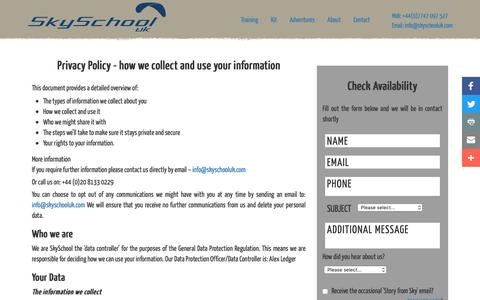 Screenshot of Privacy Page skyschooluk.com - Privacy Policy - captured Oct. 18, 2018