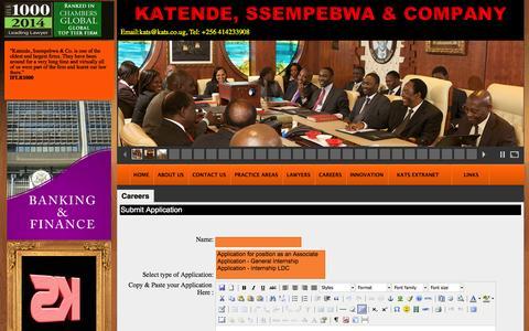 Screenshot of Jobs Page kats.co.ug - Katende, Ssempebwa & Co. Advocates - captured Oct. 6, 2014