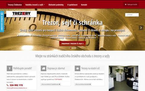 Screenshot of Home Page trezory-celakovice.cz - TREZORY ČELÁKOVICE | sejfy, schránky, pokladničky | na peníze, klíče i zbraně - captured Jan. 27, 2015