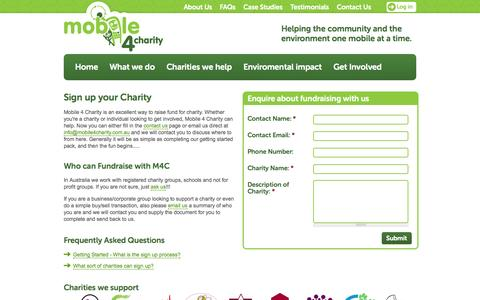 Screenshot of Signup Page mobile4charity.com.au - Mobile 4 Charity - captured Oct. 9, 2014